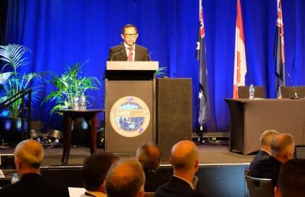 Kapolri Jenderal Tito Karnavian dalam pertemuan Victoria Police and Leadership in Counter Terrorism Alumni Assocition 2018 Internasional Counter Terrorism Forum di Melbourne Australia. Foto: Istimewa