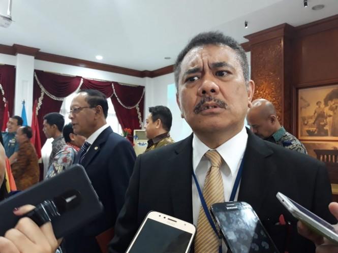 Direktur Jenderal Hukum dan Perjanjian Internasional Kementerian Luar Negeri Damos Dumoli Agusman.(Foto: Marcheilla/Medcom)