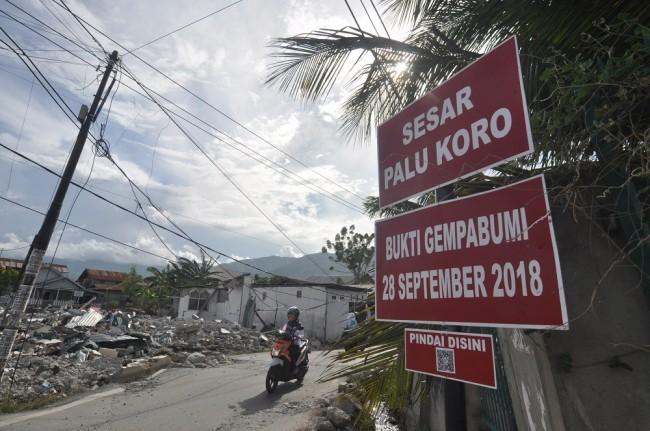 Pengendara melintas di dekat papan informasi digital tentang keberadaan dan jalur sesar palu Koro di salah satu lokasi yang rusak akibat gempa di Palu, Sulawesi Tengah, Selasa (11/12/2018). Foto: Antara/Mohamad Hamzah