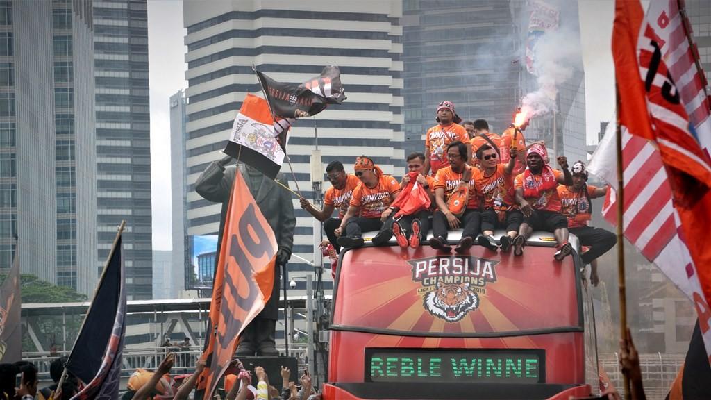 Suasana parade juara Persija Jakarta. (Foto: Medcom.id/Zam)