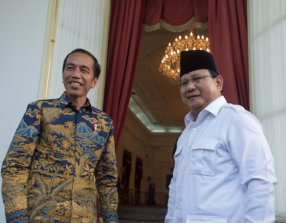 Presiden Joko Widodo dan Ketua Umum Partai Gerindra Prabowo Subianto di Istana Kepresidenan. ANT/Widodo Jusuf.