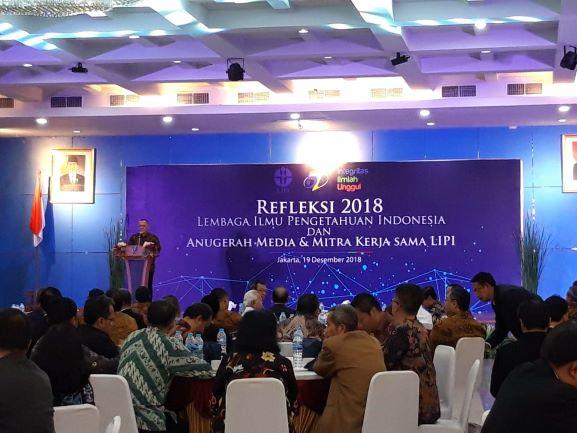 Kepala LIPI, Laksana Tri Handoko saat memaparkan Capaian Penting LIPI di Tahun 2018, Medcom.id/Intan Yunelia.