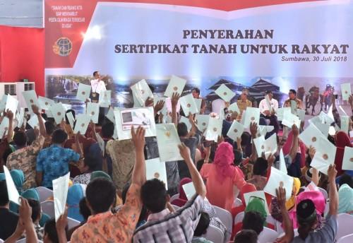 Ilustrasi Presiden joko Widodo membagikan sertifikat tanah -
