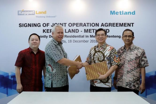 Penandatanganan dokumen kerjasama Keppel Land dengan Metland.