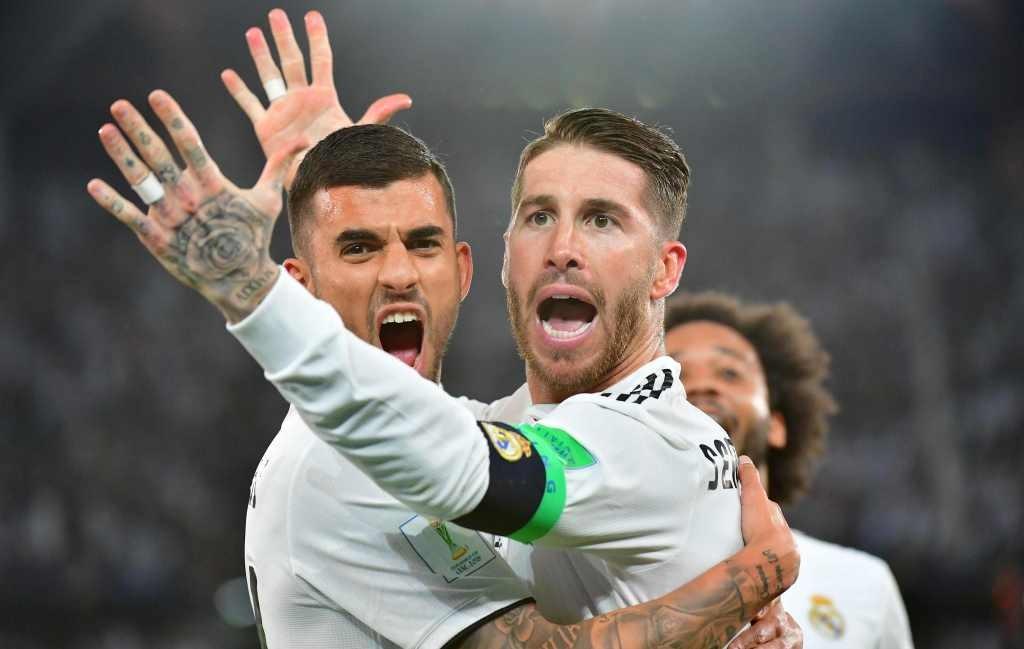 Sergio Ramos (kanan) merayakan golnya ke gawang Al Ain di babak final Piala Dunia Antarklub (Foto: AFP/Giuseppe Cacace)