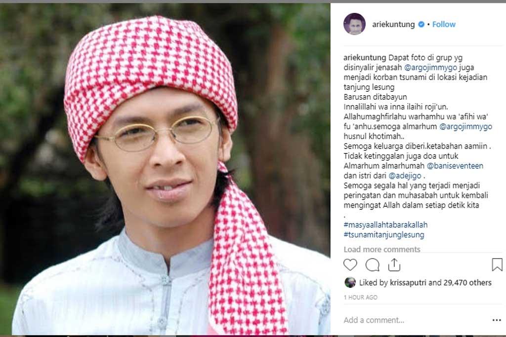 Unggahan Arie Untung terkait kabar meninggalnya Aa Jimmy (Foto: Instagram @ariekuntung)