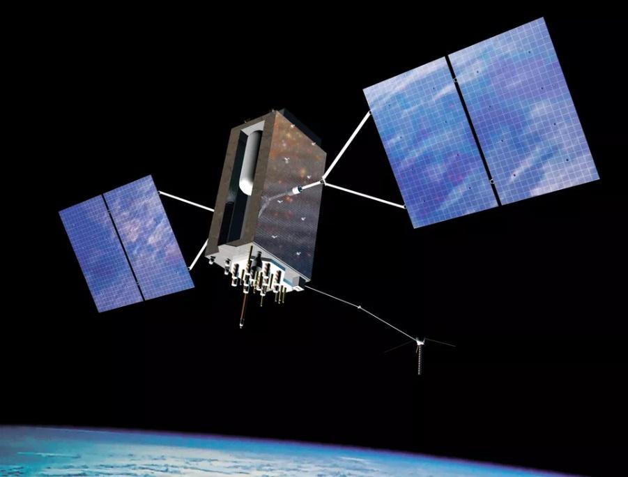 Ilustrasi satelit GPS III yang telah mengudara.