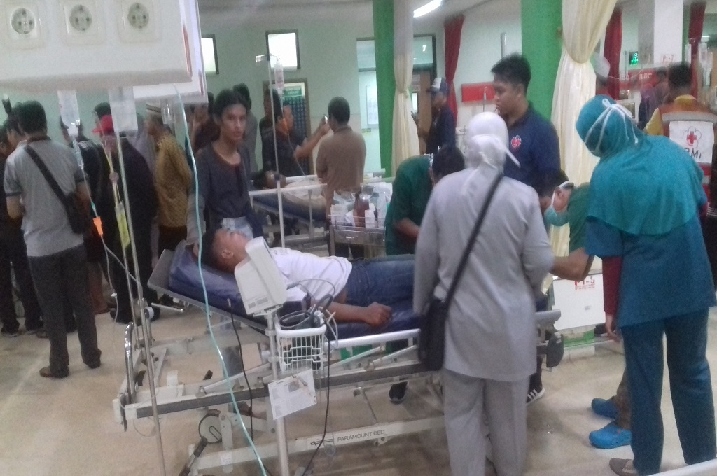 Korban tsunami di RSUD Drajat Prawiranegara, Minggu, 23 Desember 2018 - MI