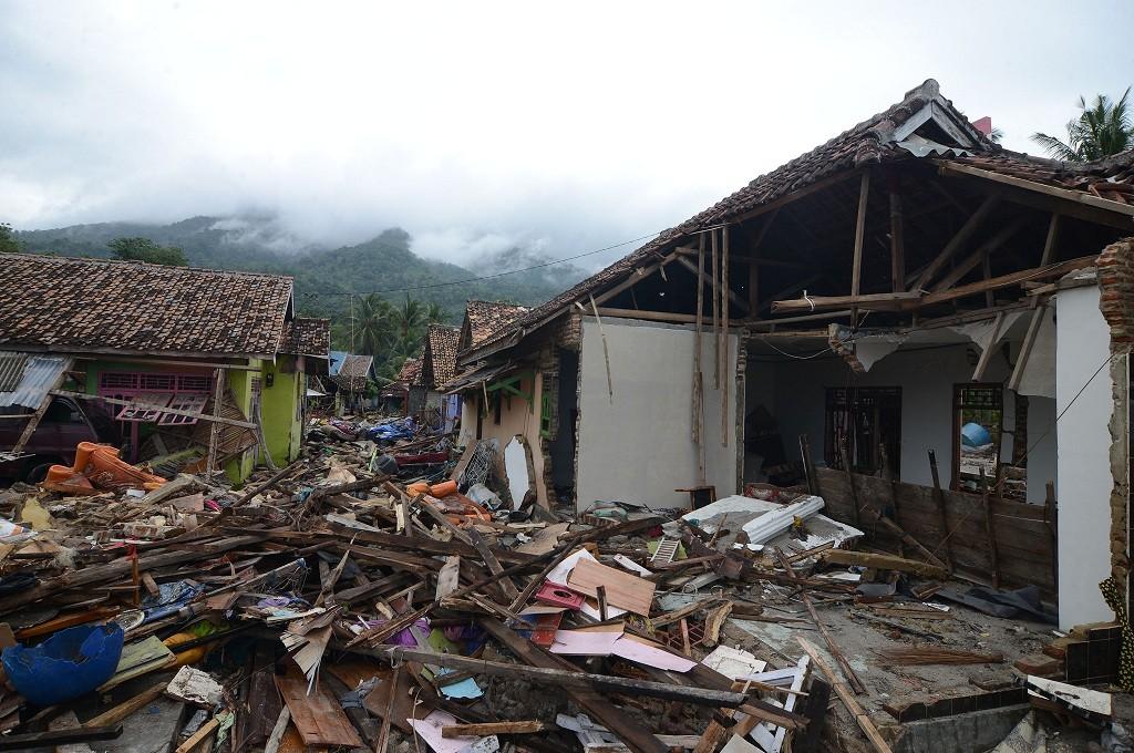 Reruntuhan rumah warga yang tersapu tsunami di Rajabasa, Lampung Selatan, Selasa 25 Desember 2018, MI - Susanto