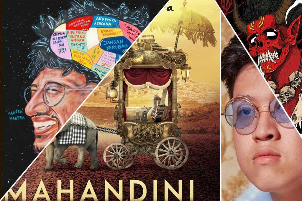 Kolase sampul album (kiri-kanan) Mantra Mantra - Kunto Aji, Mahandini - Dewa Budjana, Amen- Rich Brian, Seperti Api - Seringai