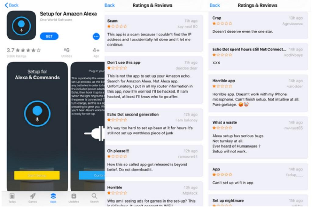 Aplikasi palsu untuk menentukan pengaturan asisten digital Alexa mengelabui pengguna Apple.