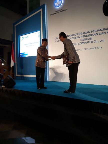 Mendikbud, Muhadjir Effendy usai menandatangani MoU dengan Casio, Medcom.id/intan Yunelia.
