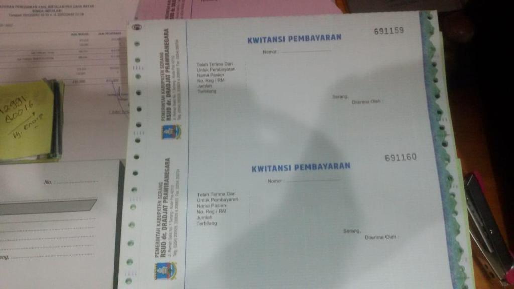 Kuitansi resmi Rumah Sakit Umum Daerah (RSUD) Drajat Prawiranegara, Serang, Banten. (Dok. Plt Kepala Rumah Sakit Drajat Prawiranegara, Sri Nurhayati)
