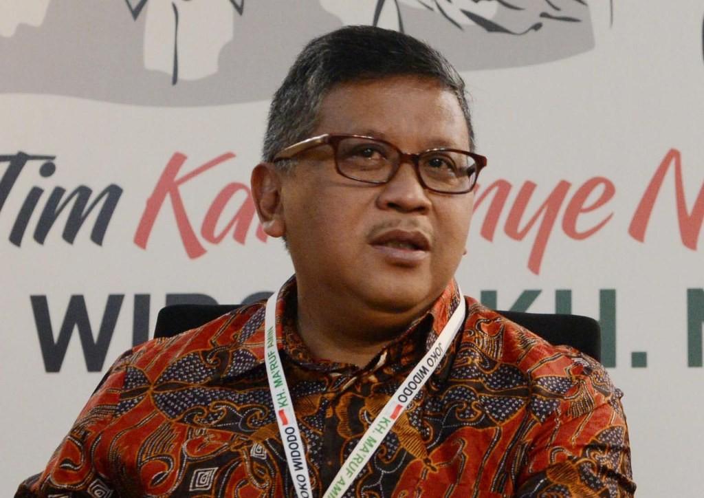 Sekretaris Tim Kampanye Nasional (TKN) Jokowi-Ma'ruf, Hasto Kristiyanto. MI/M Irfan.