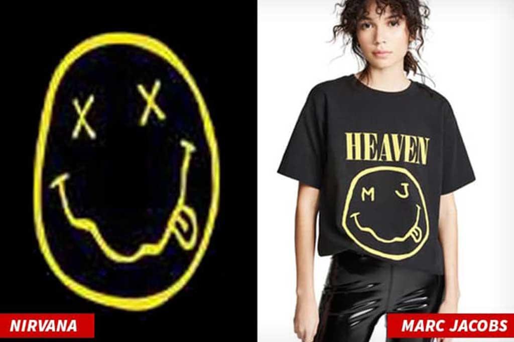 Perbandingan logo Nirvana dan kaus Marc Jacobs (Foto: TMZ)