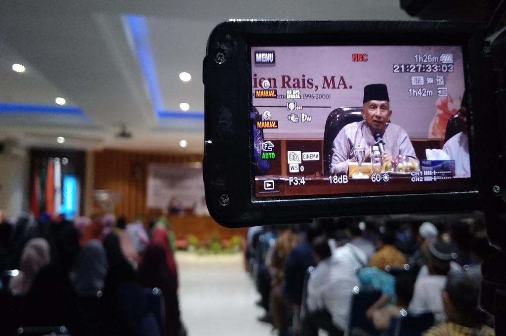 Amien Rais saat di Islamic Centre Universitas Ahmad Dahlan (UAD) Yogyakarta. Medcom.id-Ahmad Mustaqim