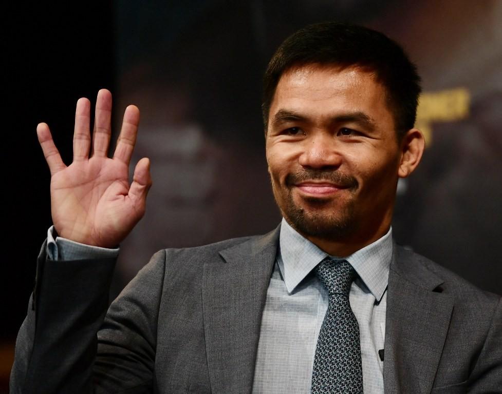 Petinju Filipina, Manny Pacquiao. (Sarah Stier/Getty Images/AFP)