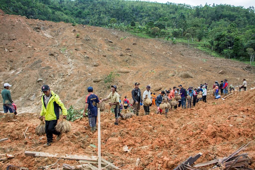 Sejumlah warga bergotong royong memindahkan padi dari lokasi tanah longsor di kampung adat Sirnaresmi, Cisolok, Kabupaten Sukabumi, Jawa Barat. (Foto: ANTARA/Nurul Ramdhan)
