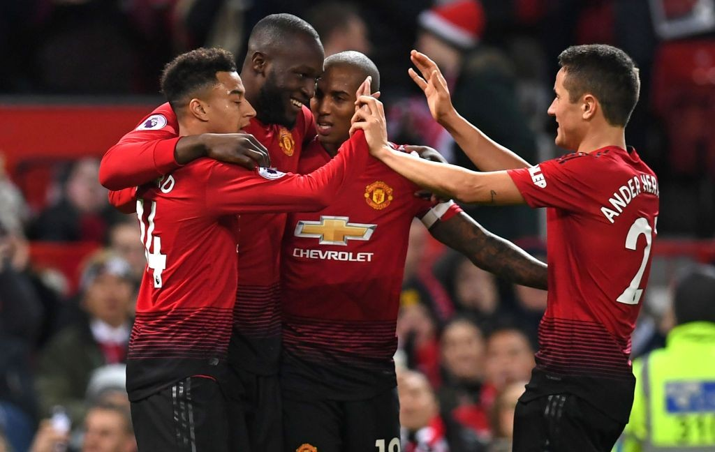 Para pemain Manchester United merayakan gol Romelu Lukaku (kanan kedua) saat menghadapi Bournemouth (Foto: AFP/Paul Ellis)