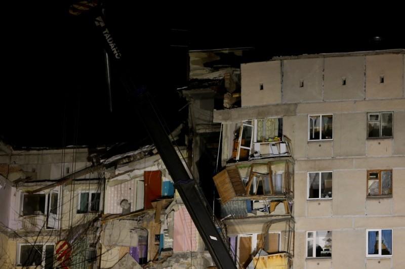 Bangunan di Rusia yang roboh akibat ledakan gas. (Foto: AFP).