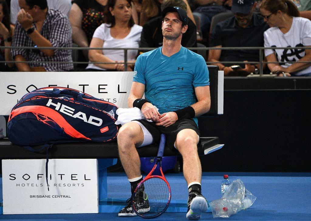 Ekspresi kekecewaan Andy Murray di ajang Brisbane International 2019. (Saeed Khan / AFP)