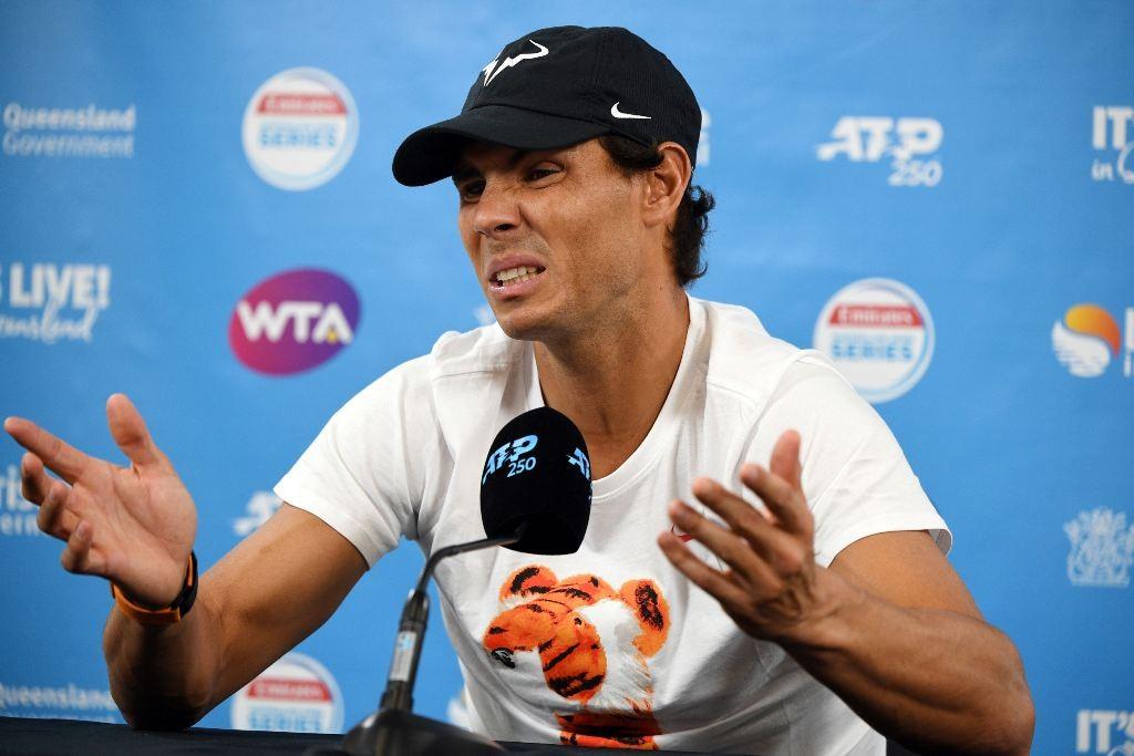 Rafael Nadal berbicara dalam Jumpa pers jelang Brisbane International 2019. (Saeed Khan / AFP)