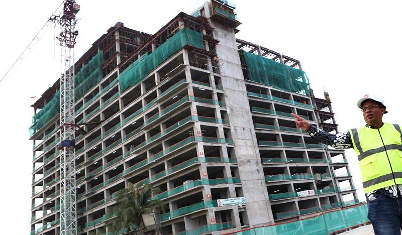 Sebuah proyek rumah susun TOD di Bekasi yang dikerjakan PT Adhi Karya. Melalui program LRT City, BUMN ini getol membangun rusun TOD di sepanjang rel LRT Jabotabek. MI/Atalyta