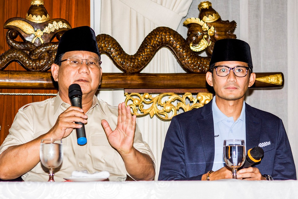 Pasangan Capres-Cawapres nomor urut 02 Prabowo Subianto-Sandiaga Uno. Foto: Antara/Galih Pradipta