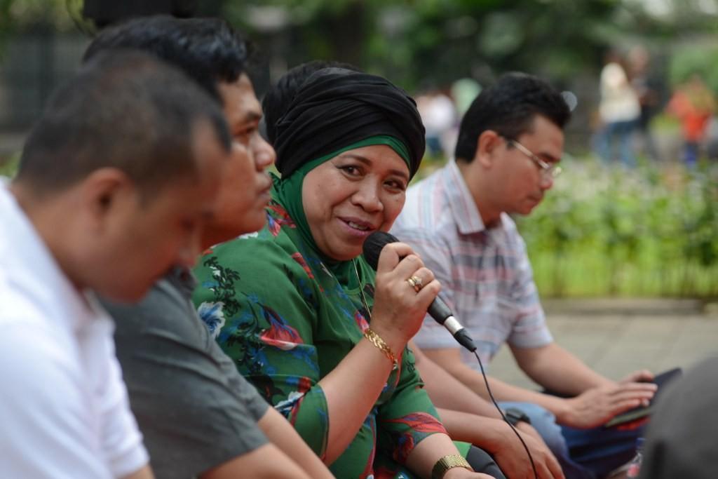 Juru Bicara Tim Kampanye Nasional (TKN) nomor urut 01 Jokowi Widodo-Ma'ruf Amin Lena Maryana Mukti. MI/M Irfan.