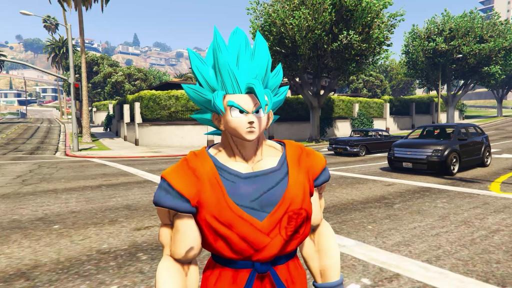 Modding game GTA V dengan menampilkan karakter Goku dari Dragon Ball.
