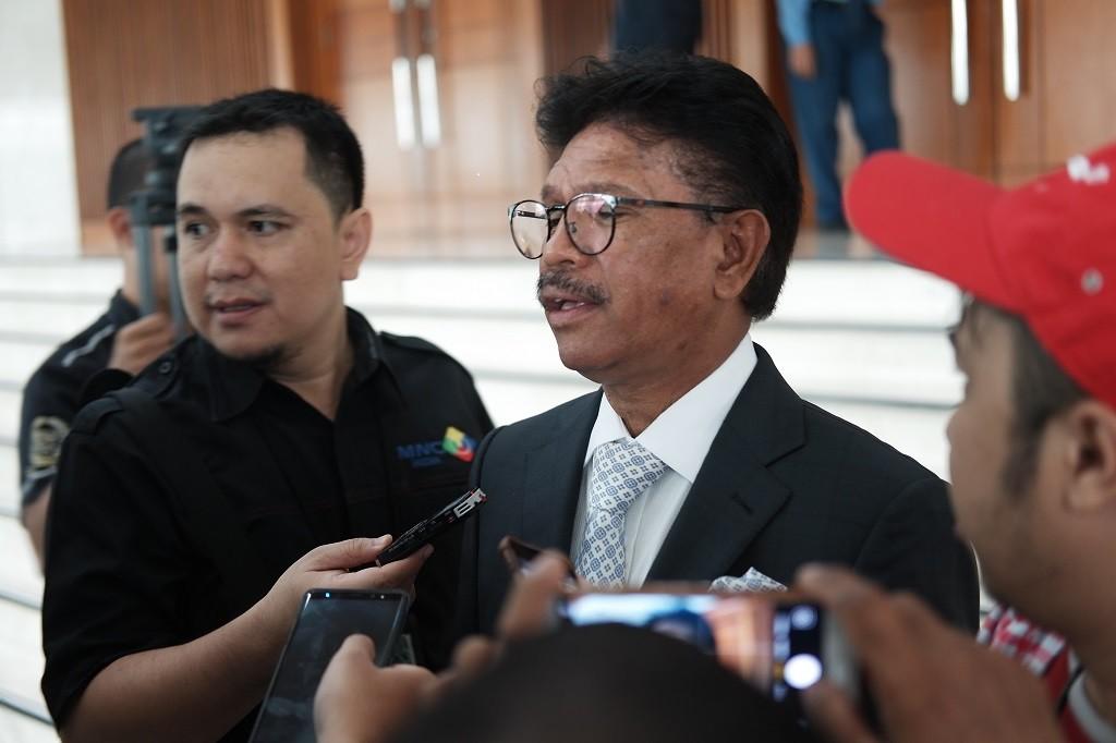 Wakil Ketua Tim Kampanye Nasional (TKN) Joko Widodo-Ma'ruf Amin, Johnny G Plate. Foto: Medcom.id/Febrian Ahmad.