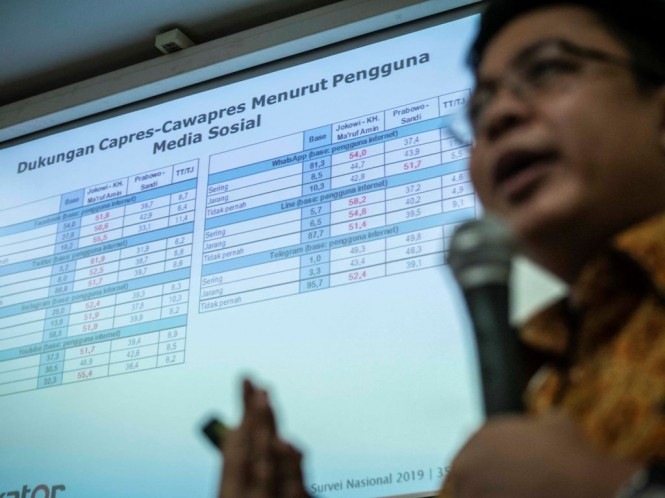 Direktur Eksekutif Indikator Politik Indonesia Burhanuddin Muhtadi memberikan pemaparan hasil survei. Foto: Antara/Aprillio Akbar.