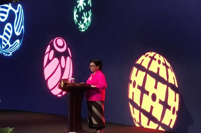 Menlu Retno Marsudi dalam Pernyataan Pers Tahunan di Kementerian Luar Negeri RI, Jakarta, Rabu 9 Januari 2019. (Foto: Fajar Nugraha)