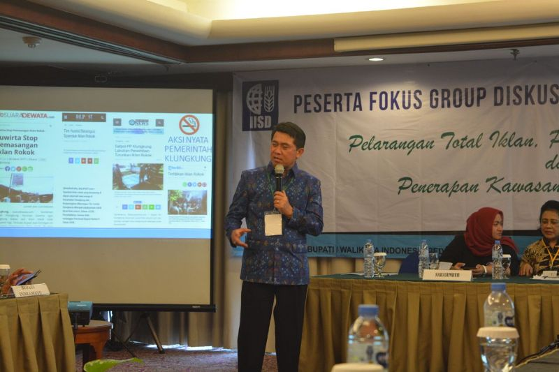 Bupati Klungkung Bali I Nyoman Suwirta saat menjadi pembicara 'Pelarangan Total Iklan, Promosi dan Sponsor Rokok dan Penerapan Kawasan Tanpa Rokok (KTR) Total' di Hotel Lumire, Jakarta pada Selasa, 8 Januari 2019. Istimewa