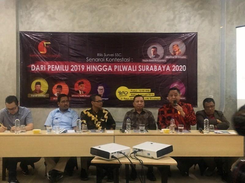 Tim SSC merilis hasil survei Pilpres 2019 di Surabaya. (Medcom.id/Amal).