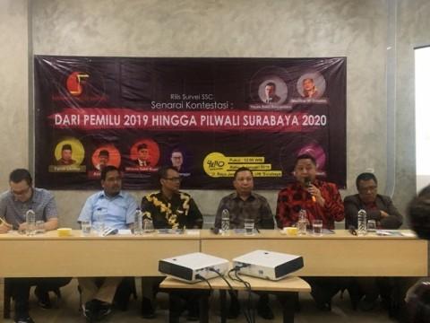 Tim SSC merilis hasil survei Pilpres 2019 di Surabaya.