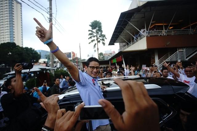 Calon wakil presiden Sandiaga Uno. Foto: Antara/Kahfie Kamaru