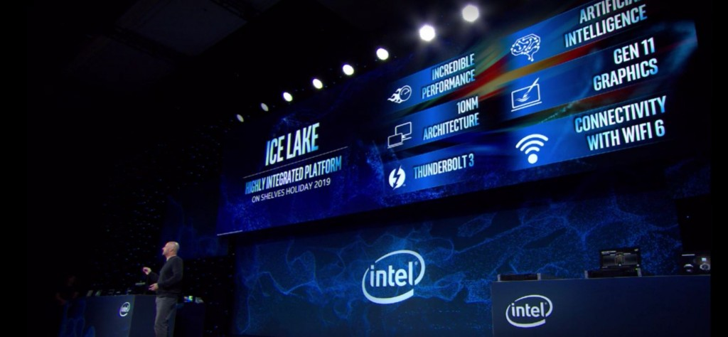 Perkenalan prosesor Intel Ice Lake fabrikasi 10nm di CES 2019. (WCCF Tech)