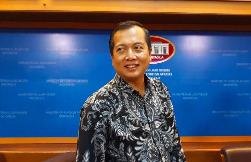 Direktur Perlindungan WNI dan Badan Hukum Indonesia Kemenlu RI Lalu Muhamad Iqbal. (Foto: Marcheilla Ariesta/Medcom.id).