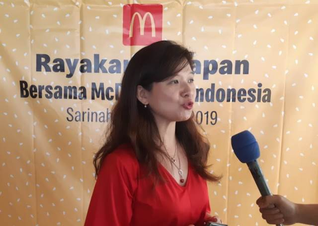 """Sejak tahun 2011, McDonald's Indonesia selalu menawarkan pilihan menu posperity untuk menyambut tahun baru,"" kata Caroline Kurniadjadja, Associate Director of Marketing McDonald's Indonesia. (Foto: Dok. Medcom.id/Dhaifurrakhman Abas)"