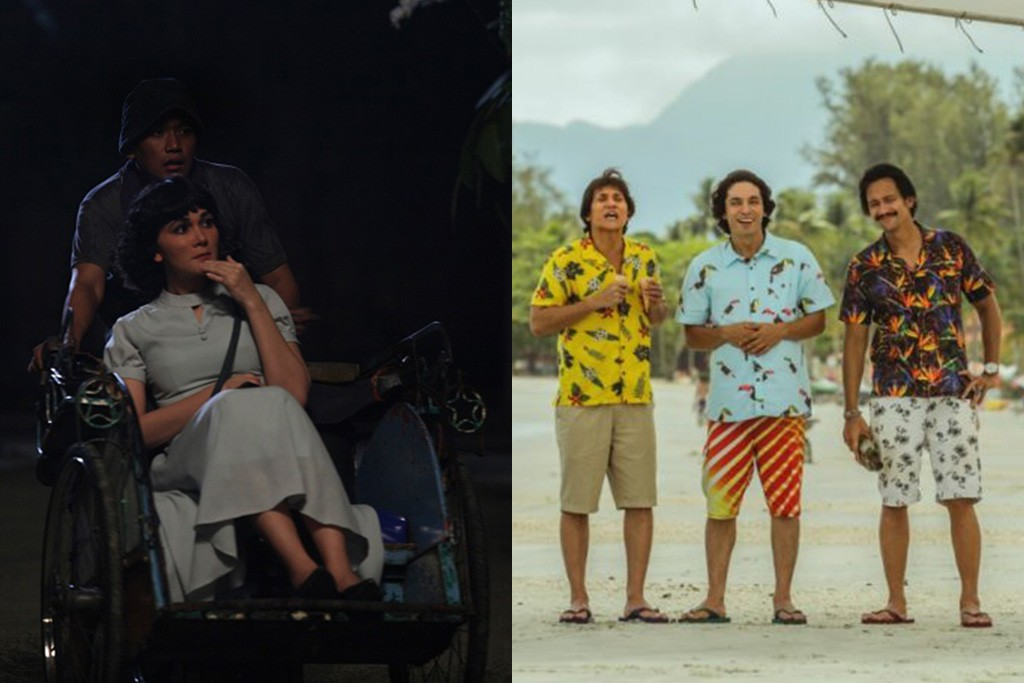 Suzzanna Bernapas dalam Kubur (kiri) dan Warkop DKI Reborn Jangkrik Boss (kanan) (Foto: Soraya Intercine Films, Falcon Pictures)