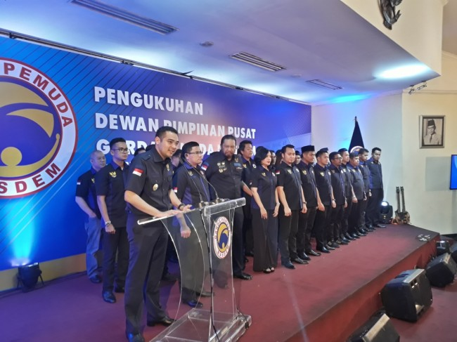 Ilustrasi--Pengukuhan Dewan Pimpinan Pusat Garda Pemuda NasDem di Gedung Joeang, Menteng, Jakarta, Senin 17 April 2017. (MTVN/M Sholahadhin Azhar)