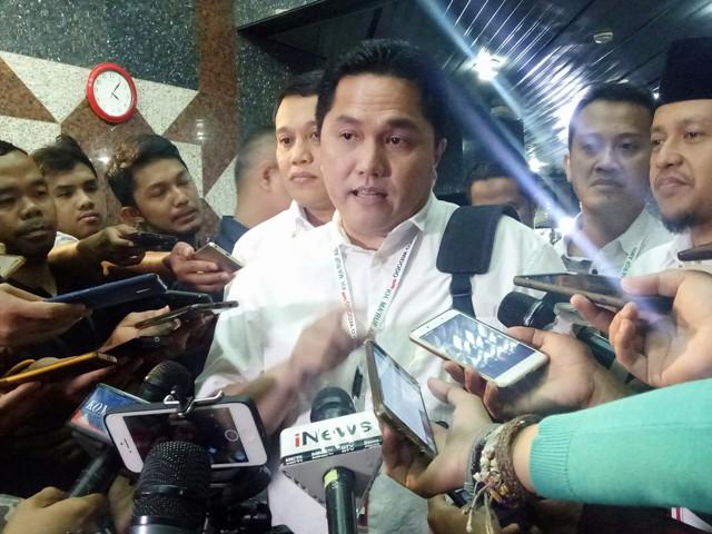 Ketua Tim Kampanye Nasional (TKN) Joko Widodo-Ma'ruf Amin Erick Thohir. Foto: Medcom.id/Arga Sumantri.