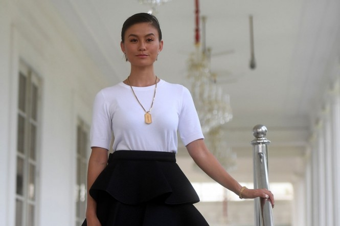 Agnez Mo di Istana Negara (Foto: Antara Foto/Akbar Nugroho Gumay)