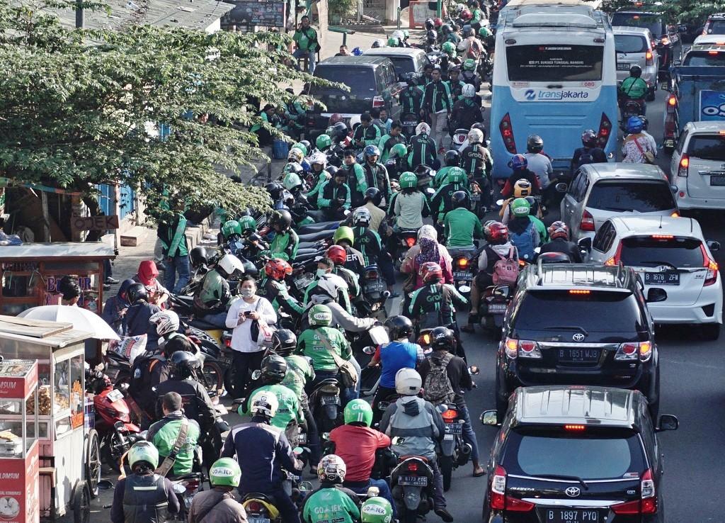 Gojek drivers (Photo:MI/Arya Manggala)