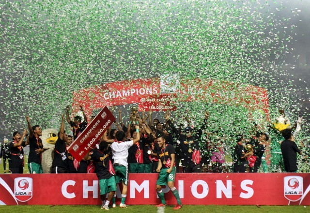 PSS Sleman saat menjuarai Liga 2 Indonesia 2018-Antara/Yulius Satria Wijaya(Str)