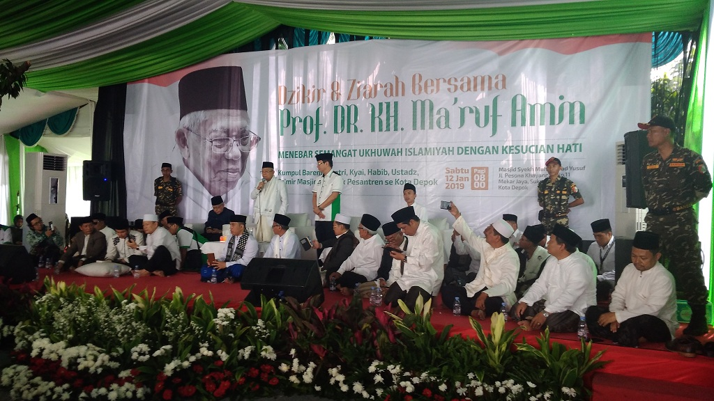 Calon wakil presiden 01 Ma'ruf Amin menghadiri doa dan zikir bersama santri, kiai, habib, ustaz seluruh Depok di Masjid Syeikh Maulana Yusuf - Medcom.id/Candra Yuri Nuralam.