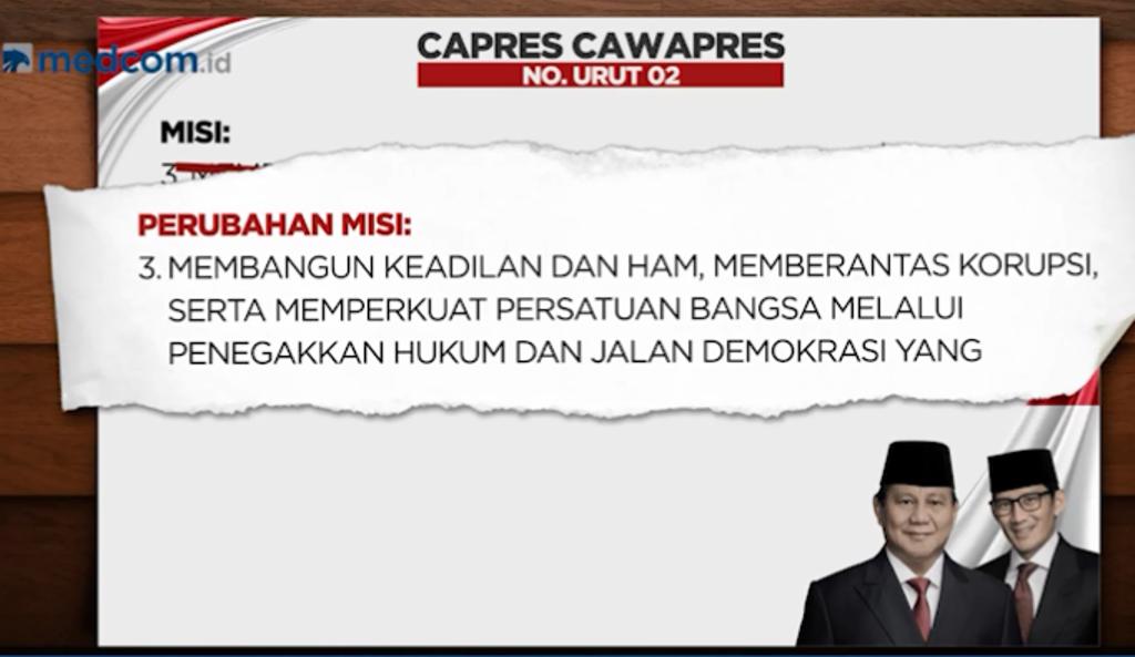 Salah satu visi misi yang direvisi Prabowo-Sandi terkait dengan persoalan hak asasi manusia (HAM). (Foto: Metro TV)