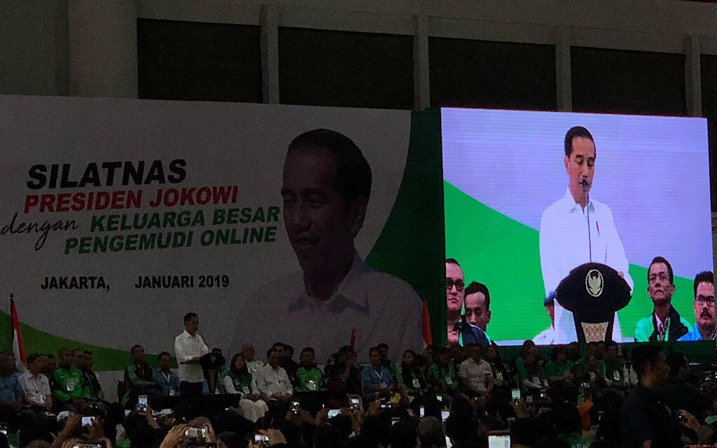 Presiden Joko Widodo menghadiri Silaturahmi Nasional Keluarga Besar Pengemudi Online - Medcom.id/Theofilus Ifan Sucipto.