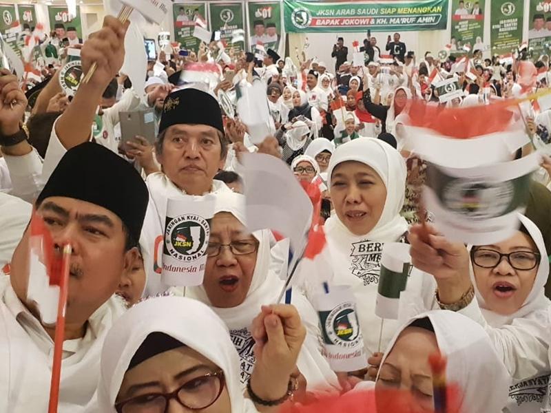 Jaringan Kyai Santri Nasional (JKSN) Arab Saudi mendeklarasikan dukungan ke pasangan Capres Jokowi- Ma'ruf. Istimewa
